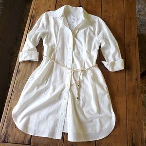Gap White Pleated Oxford Shirtdress w/ Slip NWT
